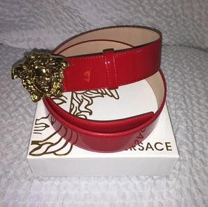 Versace Red Patent Leather Belt 95cm(32-34)